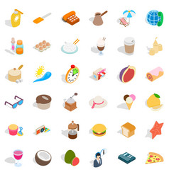 Beach food icons set isometric style vector