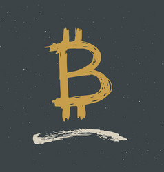 bitcoin sign icon brush lettering grunge vector image