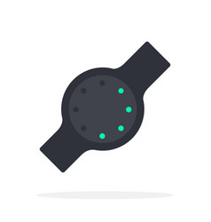black fitness tracker with a round dial flat vector image