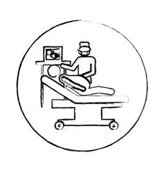 Blurred circular frame silhouette pregnant woman vector