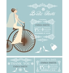 Bridal shower wedding cardsBrideWinter pattern vector
