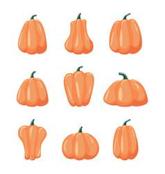 cartoon halloween pumpkin set vector image