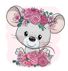 Cartoon mouse with flowers on a pink background vector