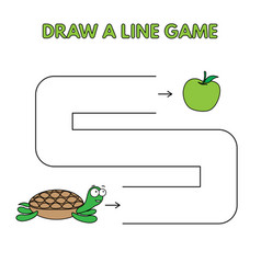 cartoon turtle draw a line game for kids vector image