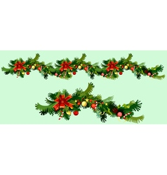 Christmas garland of fir branches and ornaments vector