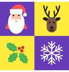 Christmas holiday symbols - santa deer holly and vector image vector image