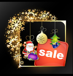 christmas sale golden snowflakes frame vector image