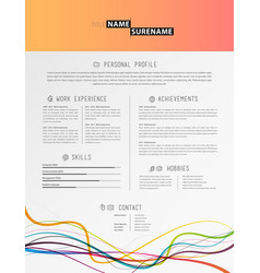 creative simple cv template with colorful lines vector image