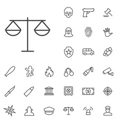 Crime justice outline thin flat digital icon vector