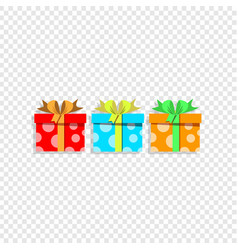 cute cartoon set of colorful gift boxes wrapped vector image