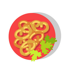 Delicious dish on round red plate colorful banner vector