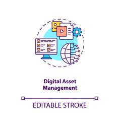 Digital asset management concept icon vector