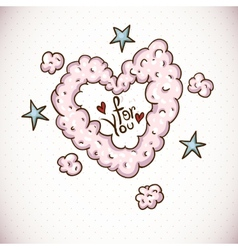 Doodle Card Valentines Day with Heart of Clouds vector