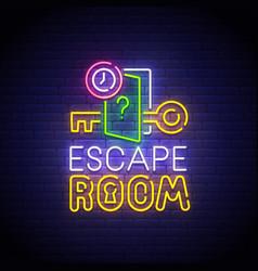 Escape room neon sign quest room logo neon vector