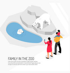 family in zoo isometric vector image
