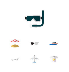 Flat icon beach set of aircraft clothes deck vector