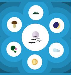 Flat icon ecology set half moon solar gull vector