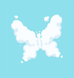 fluffy cloud in form of flying butterfly with vector image