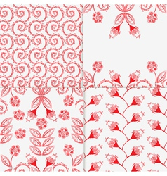 four different floral patterns vector image
