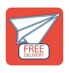 Free delivery icon with paper plane vector