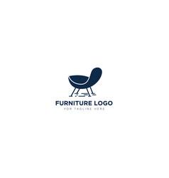 Furniture logo design with chair sofa modern logo vector