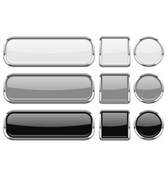 glass buttons with chrome frame set of shiny 3d vector image