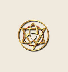 Grand seal gold triquetra with triangle circle vector