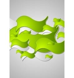 Green wavy shapes abstract design vector
