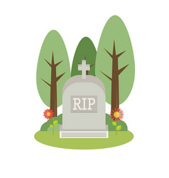grey gravestone flat tombstone icon vector image
