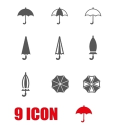grey umbrella icon set vector image