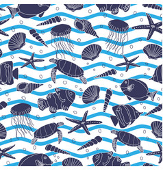 hand drawn sea life with blue waves and bubbles on vector image
