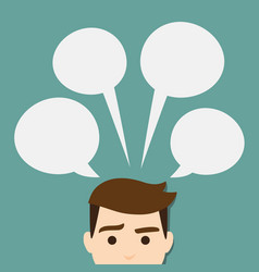 head man with speech bubble vector image
