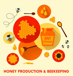 Honey production and beekeeping flat icons concept vector