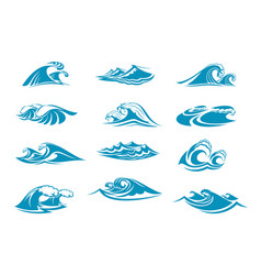 Icons of ocen water wave blue splash vector