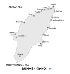 island of rhodes in greece white map vector image