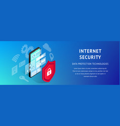 isometric data security phone banner narrow vector image