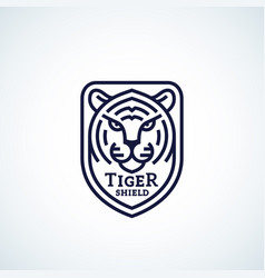 line style tiger face shield abstract icon vector image