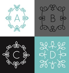 linear set floral frame for text or logo vector image