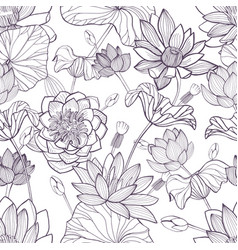 lotus floral seamless pattern hand drawn vector image
