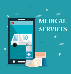 Medical service on line with smartphone vector