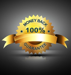 Monet back guarantee icon in golden color vector