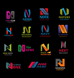 n letter font design modern business company icons vector image