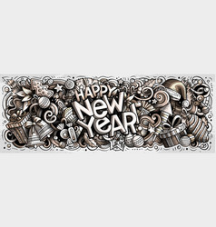 new year doodles xmas objects vector image