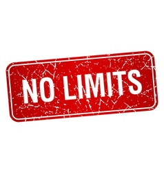 No limits red square grunge textured isolated vector