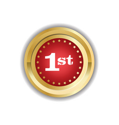 number one first place golden medal icon isolated vector image