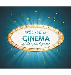 Old Cinema banner with light bulbs cinema vector