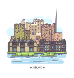 Outdoor view on ireland irish famous landmarks vector