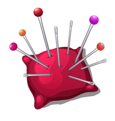 Pincushion with needles and pins isolated on white vector