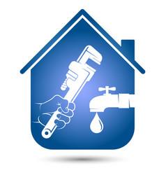 Plumbing repair and service in house symbol vector