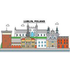 poland lublin city skyline architecture vector image